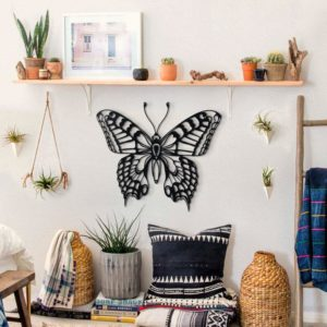 Butterfly wall art laser - cut 8 different colours 5 mm thick (MDF) wood 50cm (W) x 42cm (H) Strand Cape Town info@robomojo.co.za 061 150-5584